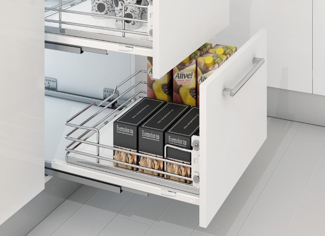 Cucine Oggi - Filo Metálico - Cajones con guías Sige